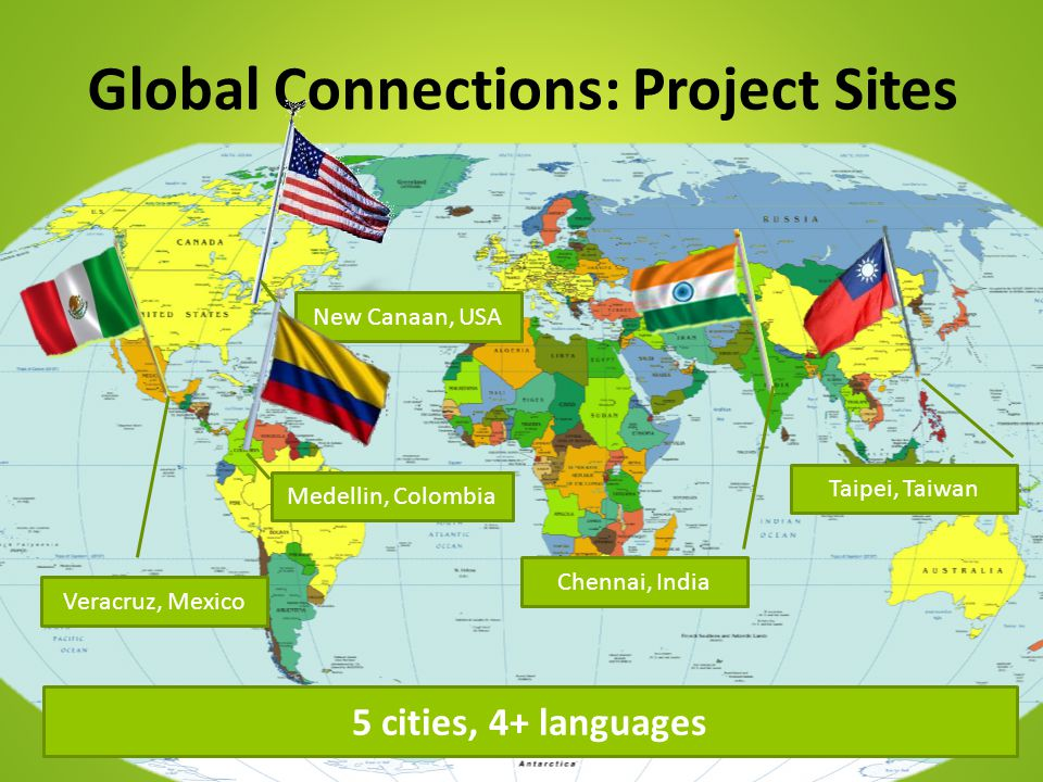 Global Connections: Project Sites New Canaan, USA Medellin, Colombia Chennai, India Taipei, Taiwan 5 cities, 4+ languages Veracruz, Mexico