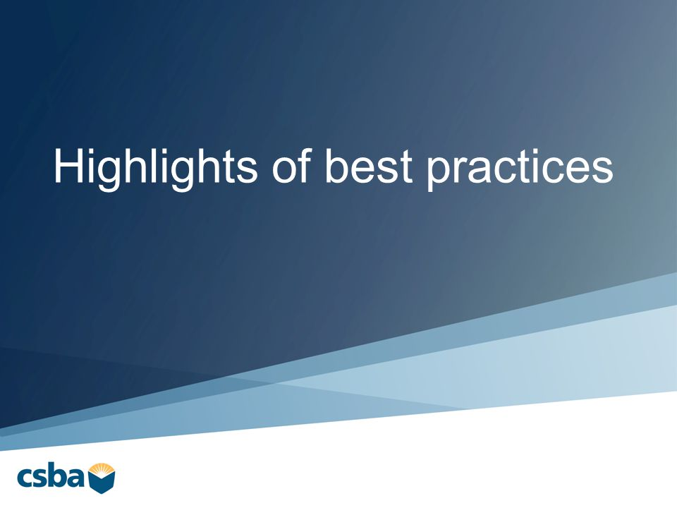 Highlights of best practices