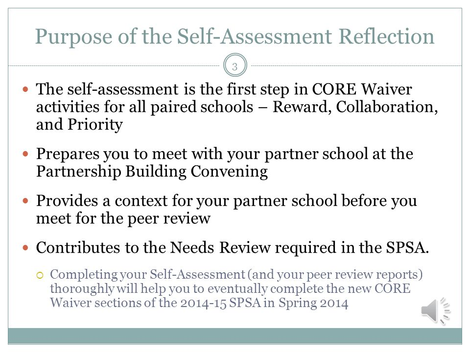 Objectives Explain the purpose of the Self-Assessment Reflection Explain the Self-Assessment Form step-by-step  Please have your copy of the Self-Assessment Form in front of you Email any questions about the form 2