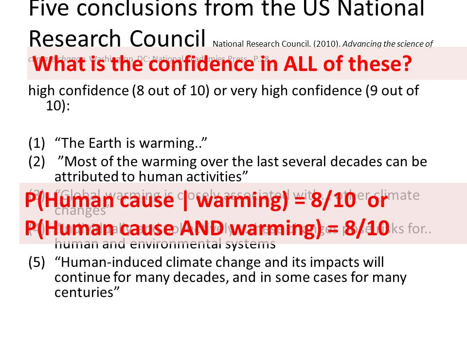 Five conclusions from the US National Research Council National Research Council. (2010). Advancing the science of climate change. Washington, DC: Nat