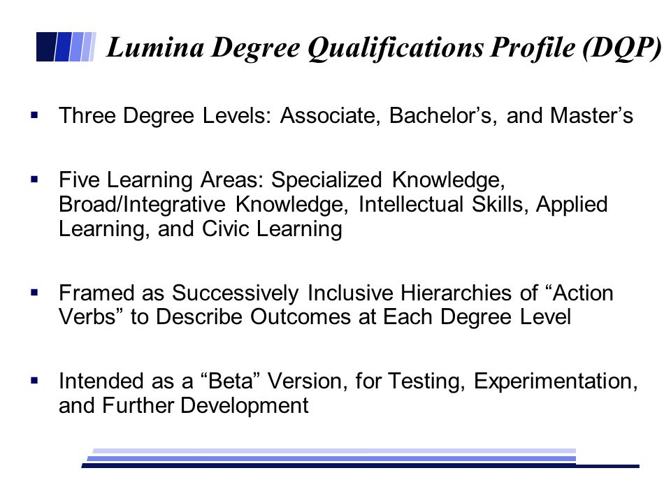 Lumina Degree Qualifications Profile (DQP)  Three Degree Levels: Associate, Bachelor's, and Master's  Five Learning Areas: Specialized Knowledge, Broad/Integrative Knowledge, Intellectual Skills, Applied Learning, and Civic Learning  Framed as Successively Inclusive Hierarchies of Action Verbs to Describe Outcomes at Each Degree Level  Intended as a Beta Version, for Testing, Experimentation, and Further Development