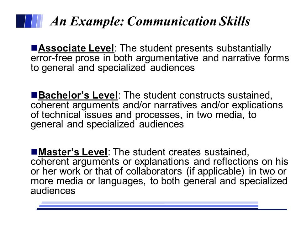 An Example: Communication Skills Associate Level: The student presents substantially error-free prose in both argumentative and narrative forms to general and specialized audiences Bachelor's Level: The student constructs sustained, coherent arguments and/or narratives and/or explications of technical issues and processes, in two media, to general and specialized audiences Master's Level: The student creates sustained, coherent arguments or explanations and reflections on his or her work or that of collaborators (if applicable) in two or more media or languages, to both general and specialized audiences