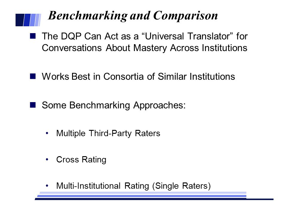 Benchmarking and Comparison The DQP Can Act as a Universal Translator for Conversations About Mastery Across Institutions Works Best in Consortia of Similar Institutions Some Benchmarking Approaches: Multiple Third-Party Raters Cross Rating Multi-Institutional Rating (Single Raters)