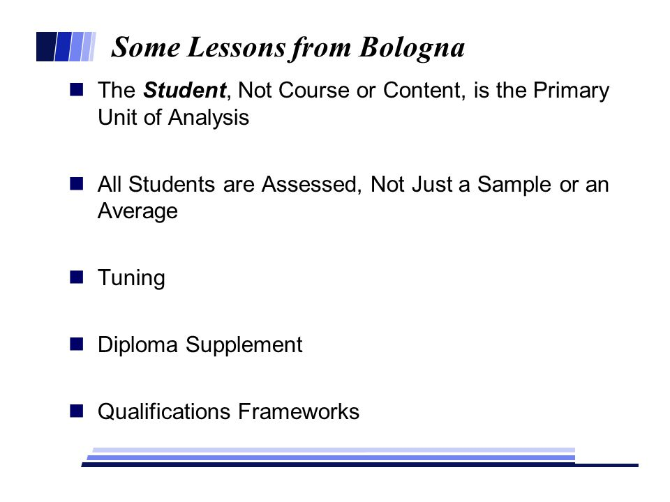 Some Lessons from Bologna The Student, Not Course or Content, is the Primary Unit of Analysis All Students are Assessed, Not Just a Sample or an Average Tuning Diploma Supplement Qualifications Frameworks