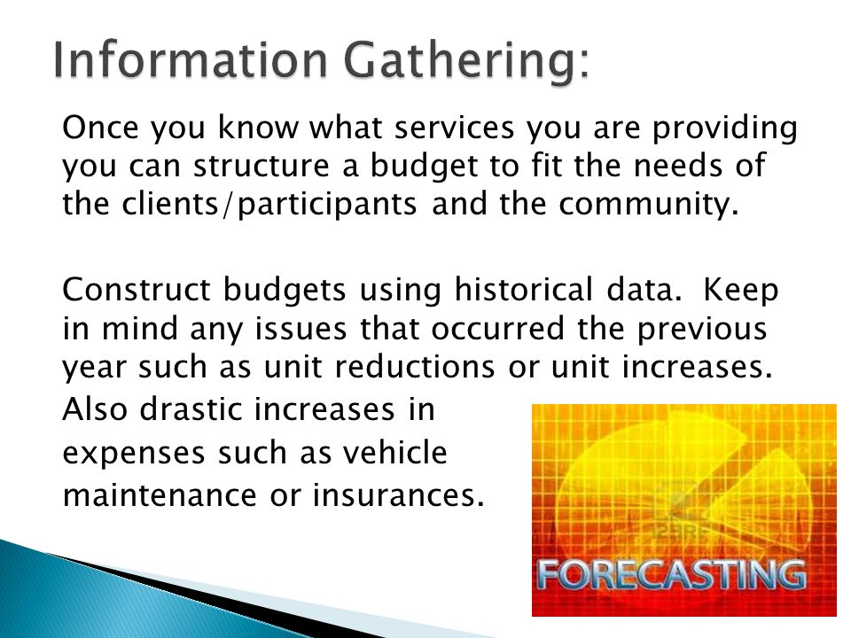 Once you know what services you are providing you can structure a budget to fit the needs of the clients/participants and the community.