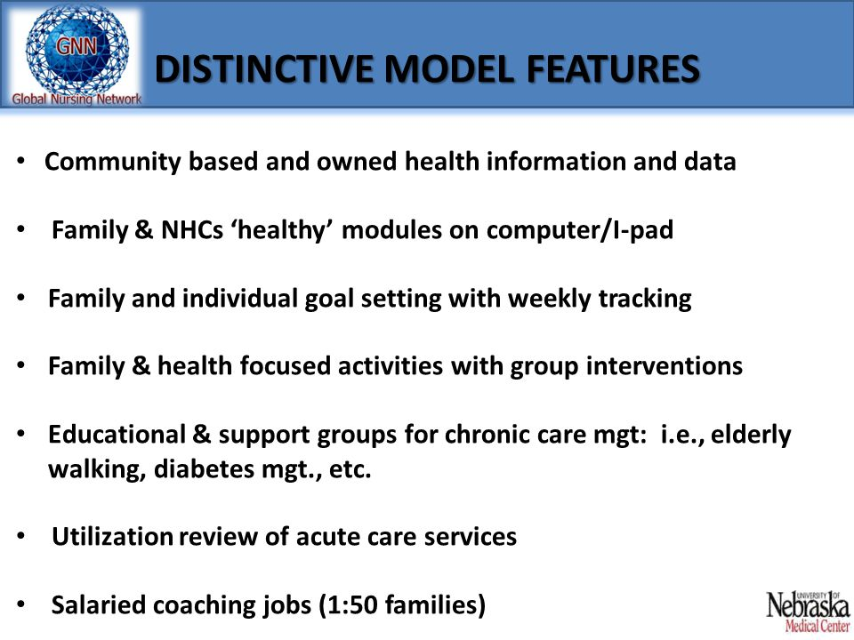 DISTINCTIVE MODEL FEATURES Community based and owned health information and data Family & NHCs 'healthy' modules on computer/I-pad Family and individu