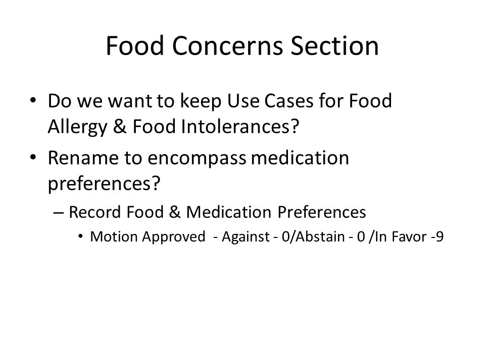 Food Concerns Section Do we want to keep Use Cases for Food Allergy & Food Intolerances.