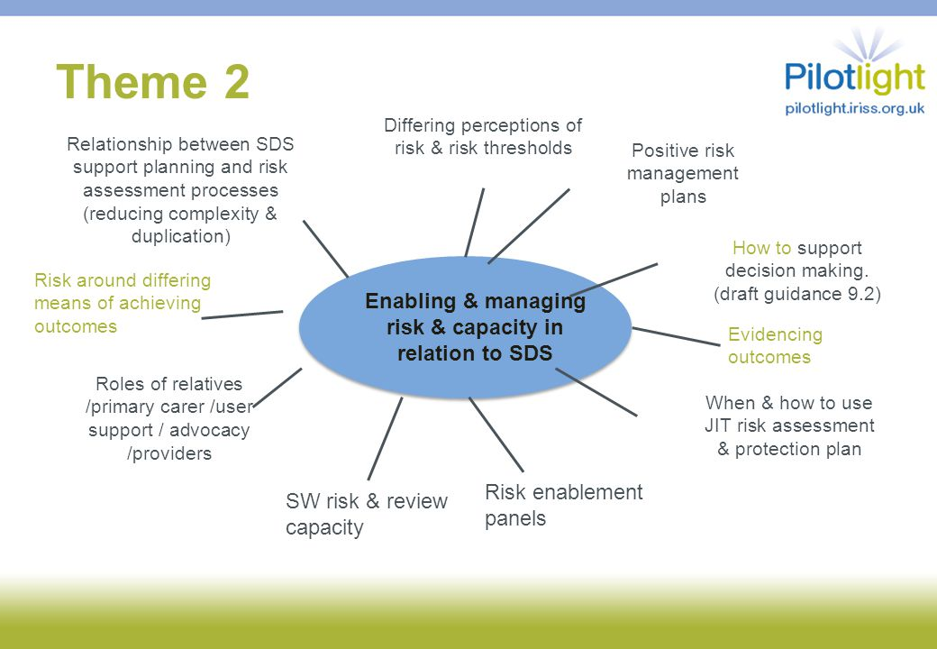 Theme 2 Enabling & managing risk & capacity in relation to SDS Differing perceptions of risk & risk thresholds Relationship between SDS support planning and risk assessment processes (reducing complexity & duplication) Roles of relatives /primary carer /user support / advocacy /providers When & how to use JIT risk assessment & protection plan Positive risk management plans SW risk & review capacity Risk enablement panels How to support decision making.