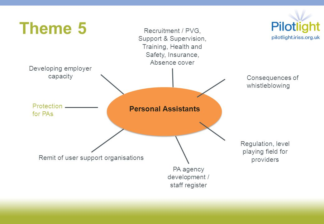 Theme 5 Personal Assistants Recruitment / PVG, Support & Supervision, Training, Health and Safety, Insurance, Absence cover Developing employer capacity Regulation, level playing field for providers Remit of user support organisations PA agency development / staff register Consequences of whistleblowing Protection for PAs