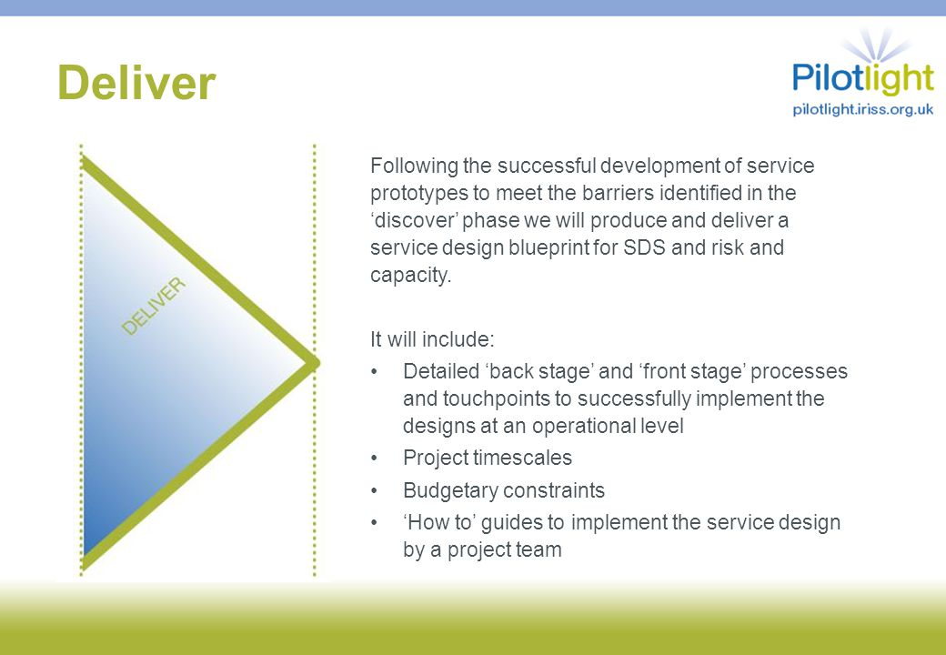Deliver Following the successful development of service prototypes to meet the barriers identified in the 'discover' phase we will produce and deliver a service design blueprint for SDS and risk and capacity.