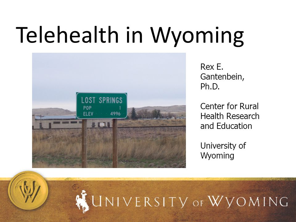 Telehealth in Wyoming Rex E. Gantenbein, Ph.D. Center for Rural Health Research and Education University of Wyoming