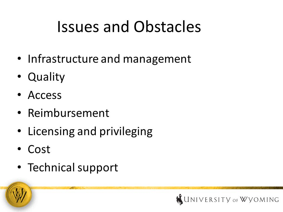 Issues and Obstacles Infrastructure and management Quality Access Reimbursement Licensing and privileging Cost Technical support