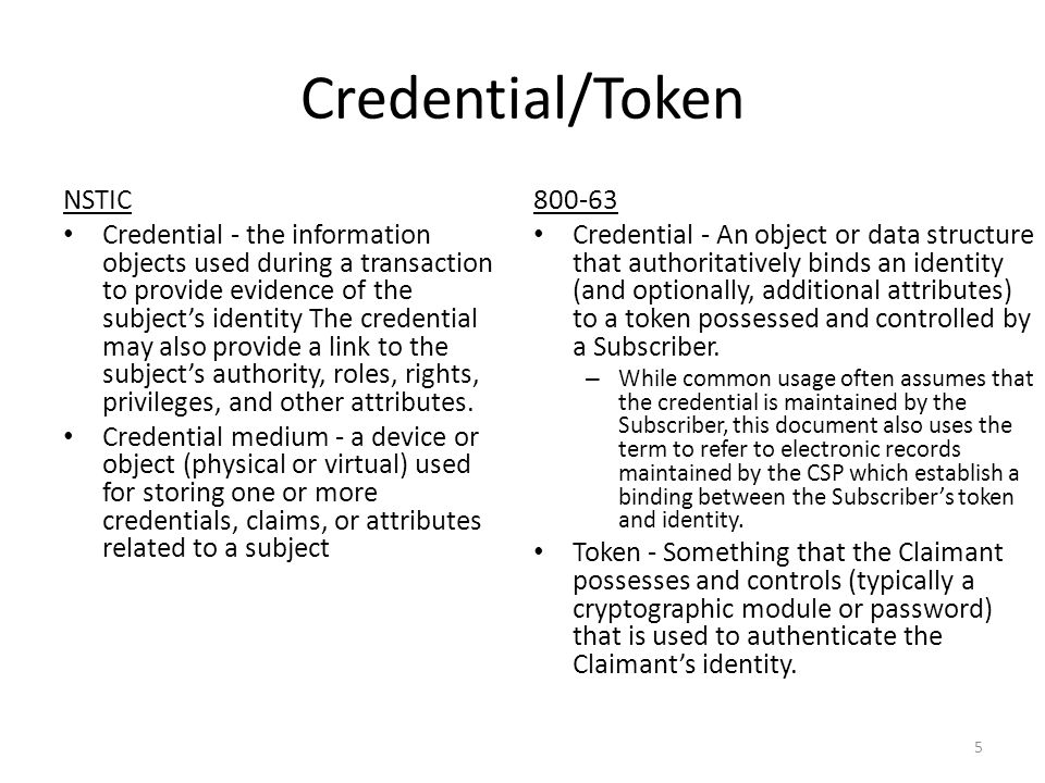 Credential/Token NSTIC Credential - the information objects used during a transaction to provide evidence of the subject's identity The credential may also provide a link to the subject's authority, roles, rights, privileges, and other attributes.