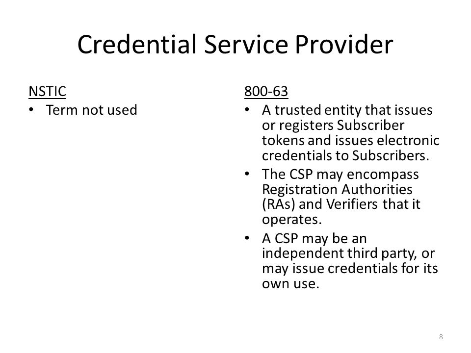 Credential Service Provider NSTIC Term not used 800-63 A trusted entity that issues or registers Subscriber tokens and issues electronic credentials to Subscribers.