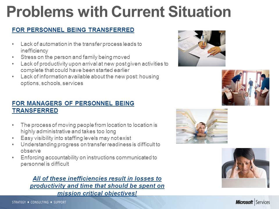 FOR PERSONNEL BEING TRANSFERRED Lack of automation in the transfer process leads to inefficiency Stress on the person and family being moved Lack of productivity upon arrival at new post given activities to complete that could have been started earlier Lack of information available about the new post: housing options, schools, services FOR MANAGERS OF PERSONNEL BEING TRANSFERRED The process of moving people from location to location is highly administrative and takes too long Easy visibility into staffing levels may not exist Understanding progress on transfer readiness is difficult to observe Enforcing accountability on instructions communicated to personnel is difficult All of these inefficiencies result in losses to productivity and time that should be spent on mission critical objectives.