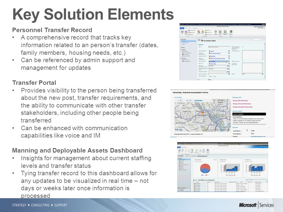 Key Solution Elements Personnel Transfer Record A comprehensive record that tracks key information related to an person's transfer (dates, family members, housing needs, etc.) Can be referenced by admin support and management for updates Transfer Portal Provides visibility to the person being transferred about the new post, transfer requirements, and the ability to communicate with other transfer stakeholders, including other people being transferred Can be enhanced with communication capabilities like voice and IM Manning and Deployable Assets Dashboard Insights for management about current staffing levels and transfer status Tying transfer record to this dashboard allows for any updates to be visualized in real time – not days or weeks later once information is processed