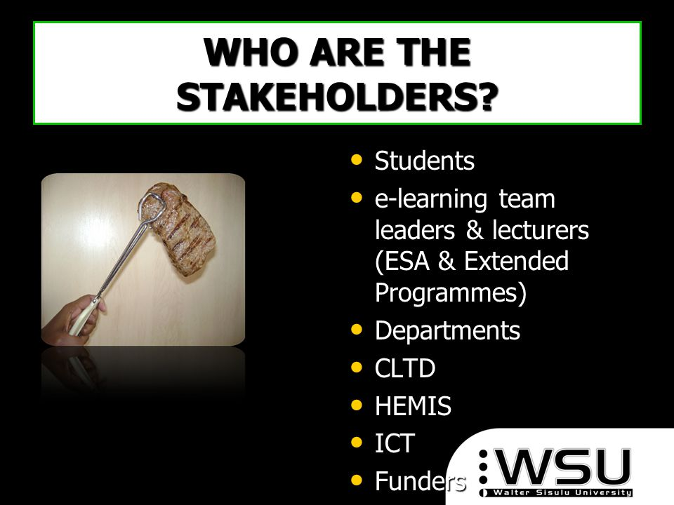 WHO ARE THE STAKEHOLDERS? Students Students e-learning team leaders & lecturers (ESA & Extended Programmes) e-learning team leaders & lecturers (ESA &