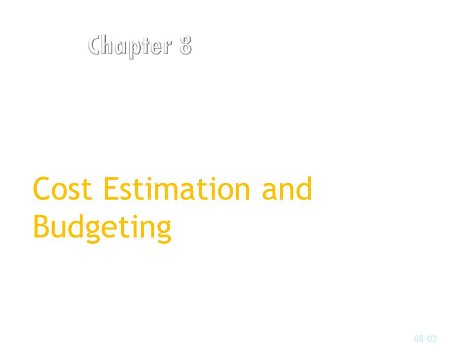 Cost Estimation and Budgeting 08-02