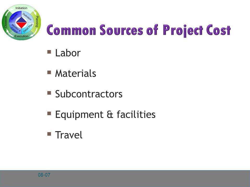  Labor  Materials  Subcontractors  Equipment & facilities  Travel 08-07