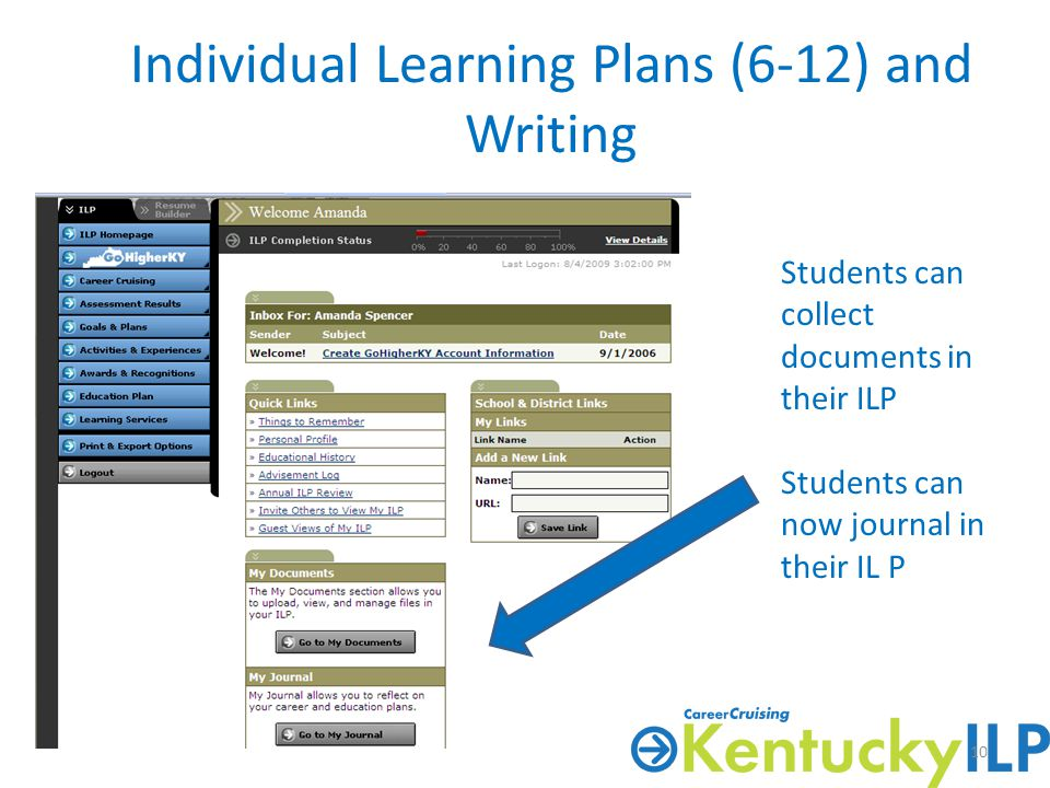 Individual Learning Plans (6-12) and Writing Students can collect documents in their ILP Students can now journal in their IL P 10