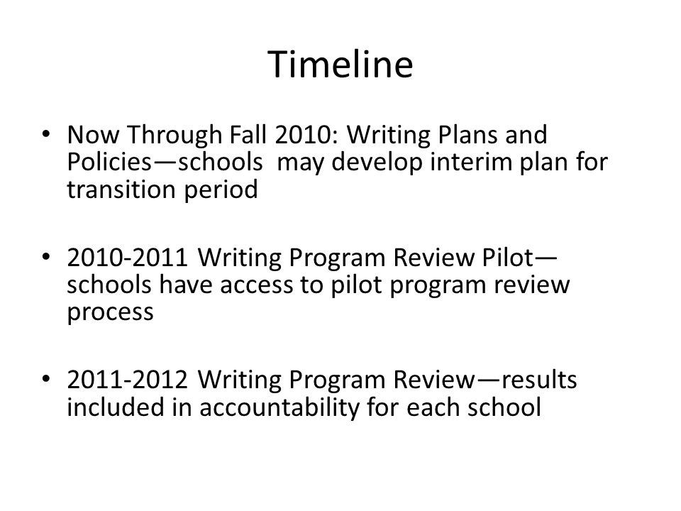 Now Through Fall 2010: Writing Plans and Policies—schools may develop interim plan for transition period 2010-2011 Writing Program Review Pilot— schools have access to pilot program review process 2011-2012 Writing Program Review—results included in accountability for each school Timeline