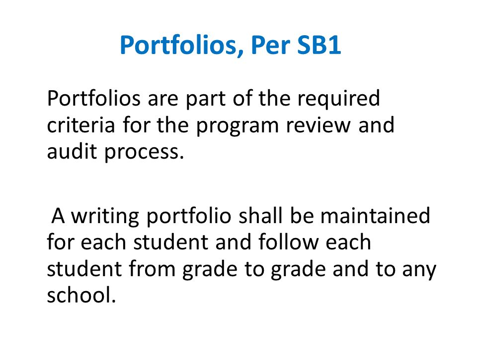 Portfolios are part of the required criteria for the program review and audit process.