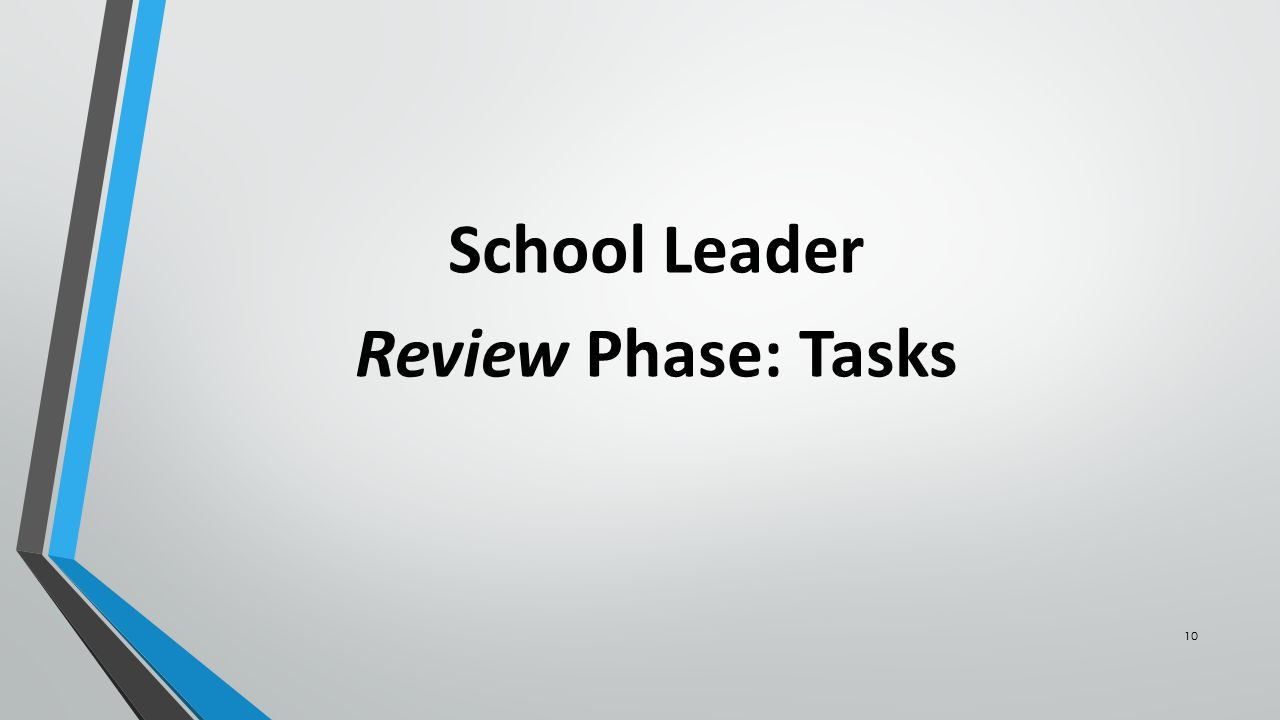 10 School Leader Review Phase: Tasks