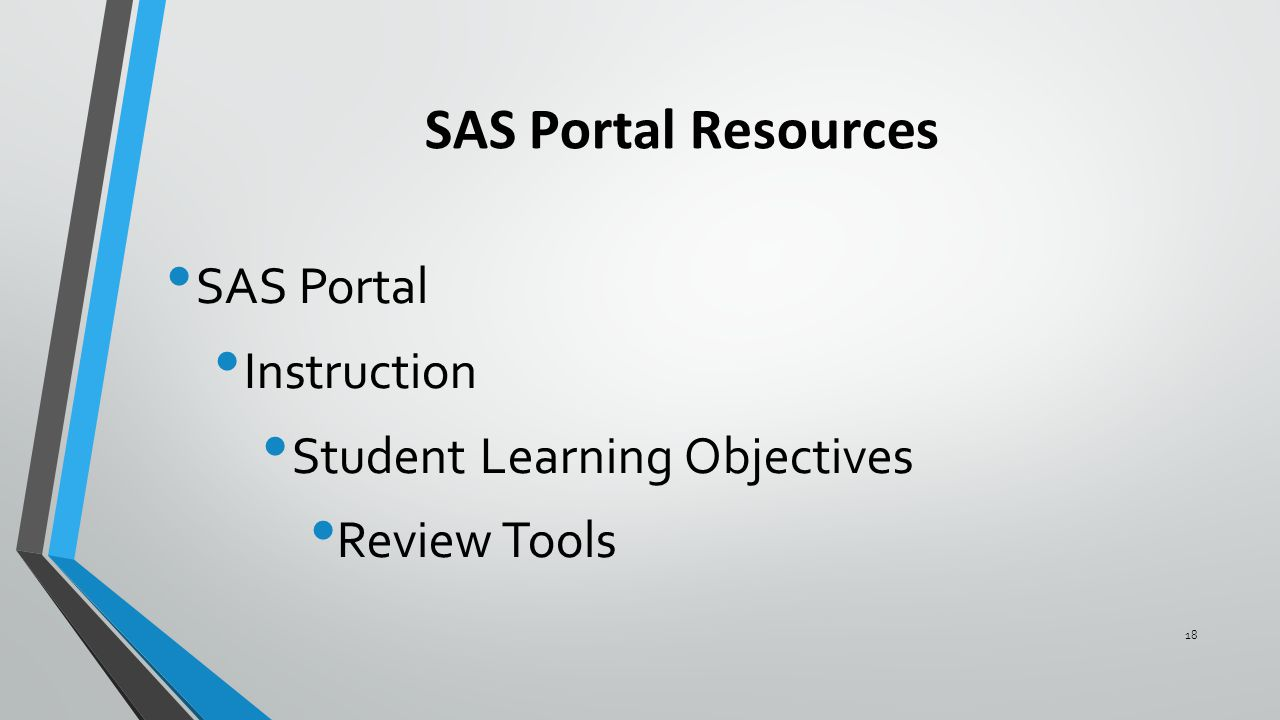 SAS Portal Resources SAS Portal Instruction Student Learning Objectives Review Tools 18