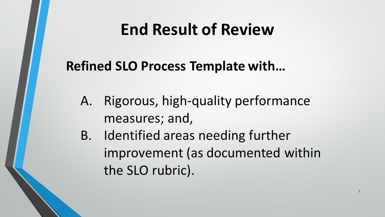 Create the SLO Review for Completeness Evaluate SLO for Comprehensiveness Determine SLO Coherency Identify and Apply Corrective Actions 8 Generic Review Workflow