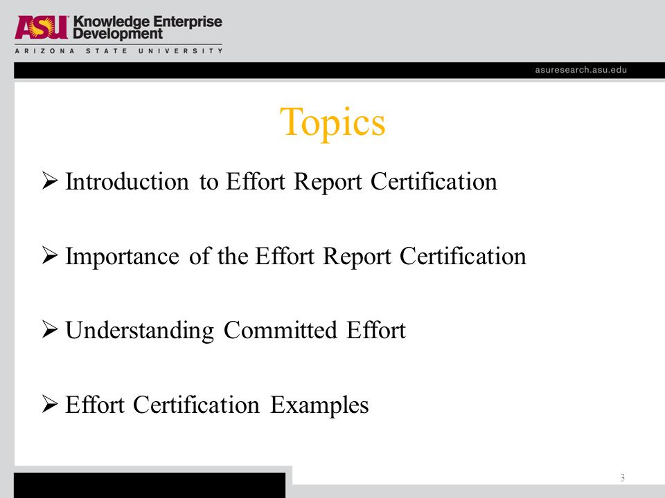 Topics  Introduction to Effort Report Certification  Importance of the Effort Report Certification  Understanding Committed Effort  Effort Certification Examples 3