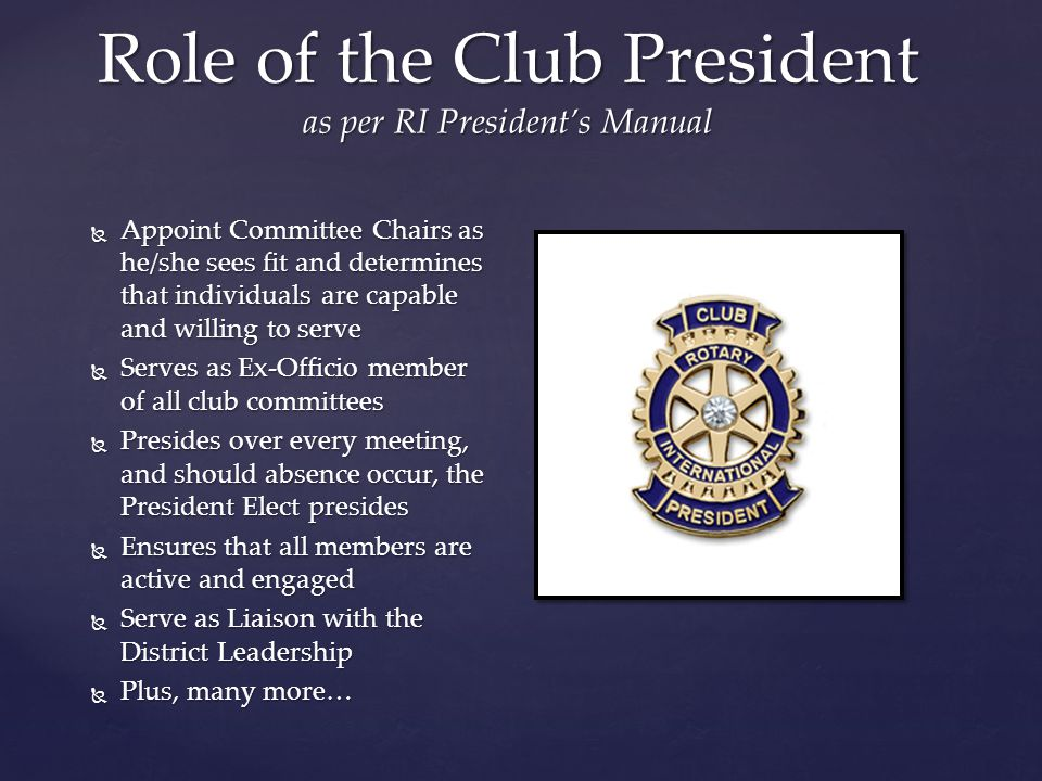  Appoint Committee Chairs as he/she sees fit and determines that individuals are capable and willing to serve  Serves as Ex-Officio member of all cl