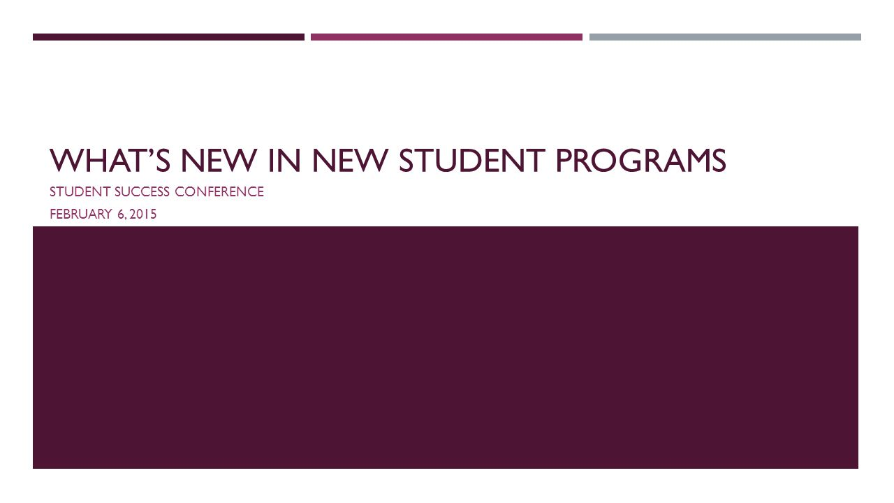 WHAT'S NEW IN NEW STUDENT PROGRAMS STUDENT SUCCESS CONFERENCE FEBRUARY 6, 2015