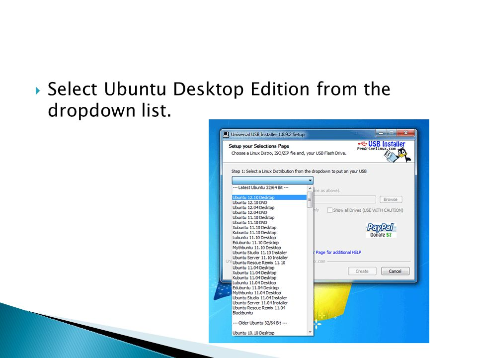  Select Ubuntu Desktop Edition from the dropdown list.