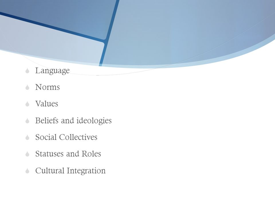  Language  Norms  Values  Beliefs and ideologies  Social Collectives  Statuses and Roles  Cultural Integration
