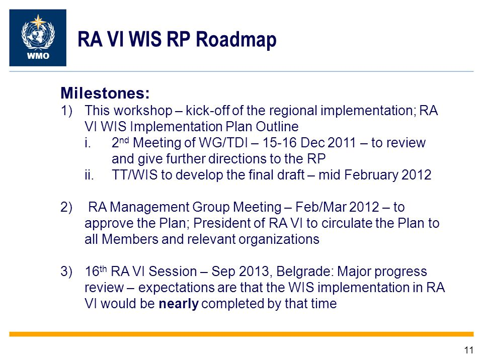 11 WMO RA VI WIS RP Roadmap Milestones: 1)This workshop – kick-off of the regional implementation; RA VI WIS Implementation Plan Outline i.2 nd Meeting of WG/TDI – Dec 2011 – to review and give further directions to the RP ii.TT/WIS to develop the final draft – mid February ) RA Management Group Meeting – Feb/Mar 2012 – to approve the Plan; President of RA VI to circulate the Plan to all Members and relevant organizations 3)16 th RA VI Session – Sep 2013, Belgrade: Major progress review – expectations are that the WIS implementation in RA VI would be nearly completed by that time