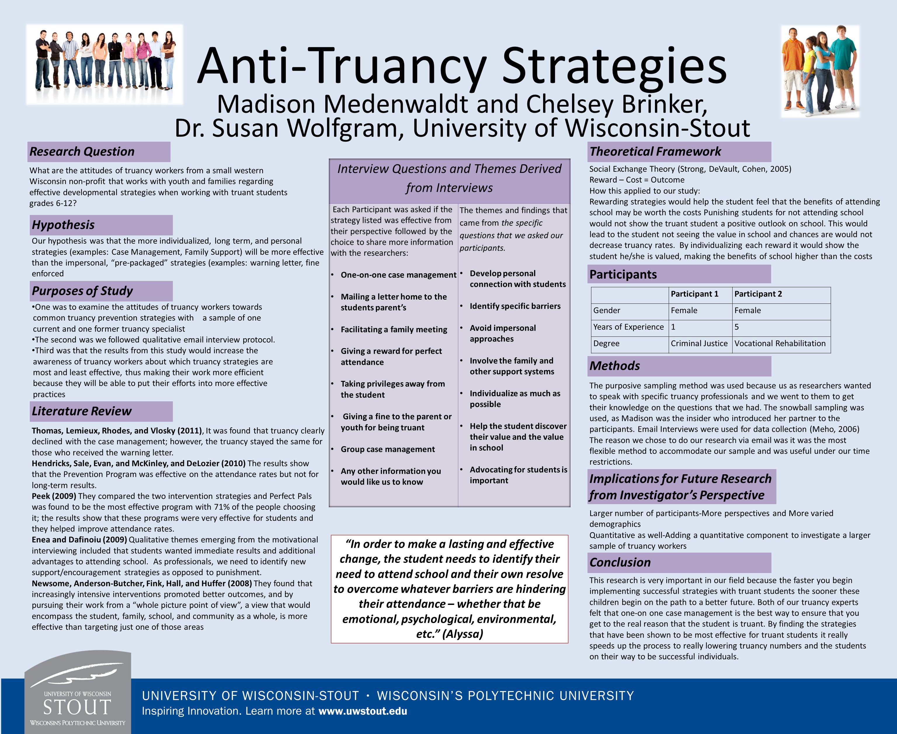 Anti-Truancy Strategies Madison Medenwaldt and Chelsey Brinker, Dr.