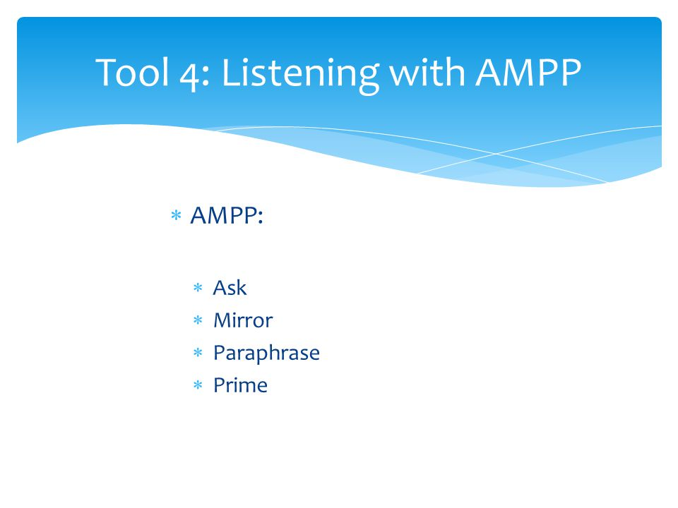  AMPP:  Ask  Mirror  Paraphrase  Prime Tool 4: Listening with AMPP
