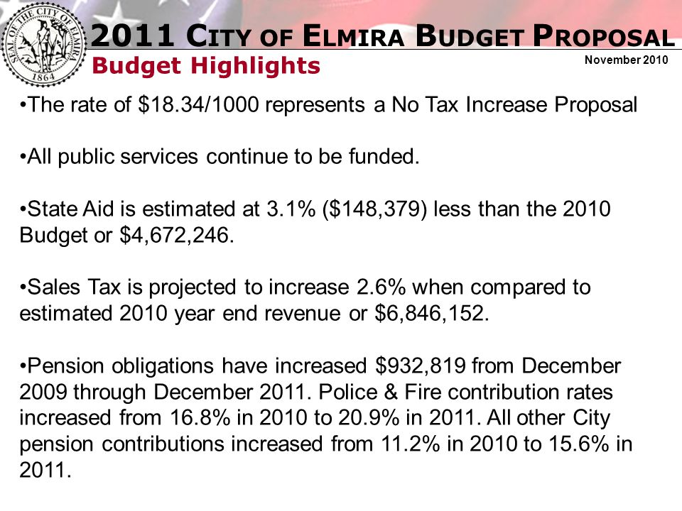 2011 C ITY OF E LMIRA B UDGET P ROPOSAL November 2010 Budget Highlights The unfunded State mandate requiring City taxpayers to pay 100% of the cost of housing 45% of all Chemung County not for profits continues to be an overwhelming burden on City taxpayers.