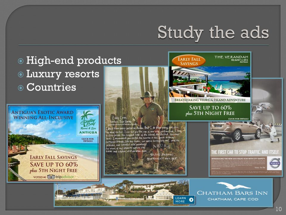  High-end products  Luxury resorts  Countries 10