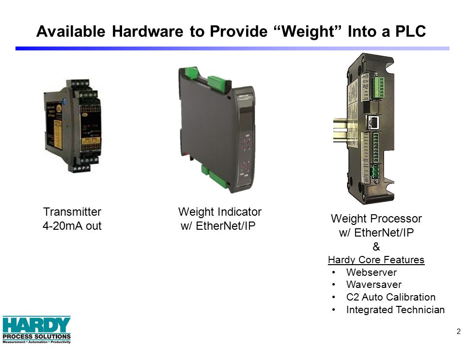 "2 Available Hardware to Provide ""Weight"" Into a PLC Transmitter 4-20mA out Weight Indicator w/ EtherNet/IP Weight Processor w/ EtherNet/IP & Hardy Cor"