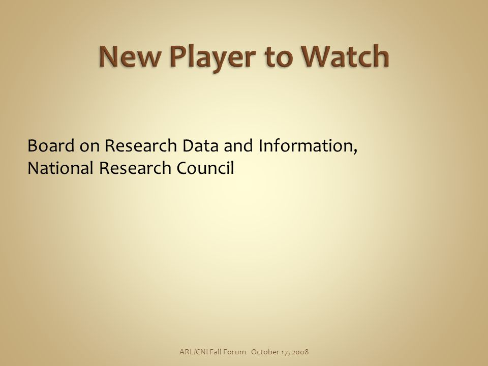 Board on Research Data and Information, National Research Council ARL/CNI Fall Forum October 17, 2008