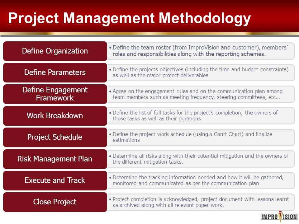 Project Management Methodology Define the team roster (from ImproVision and customer), members' roles and responsibilities along with the reporting sc