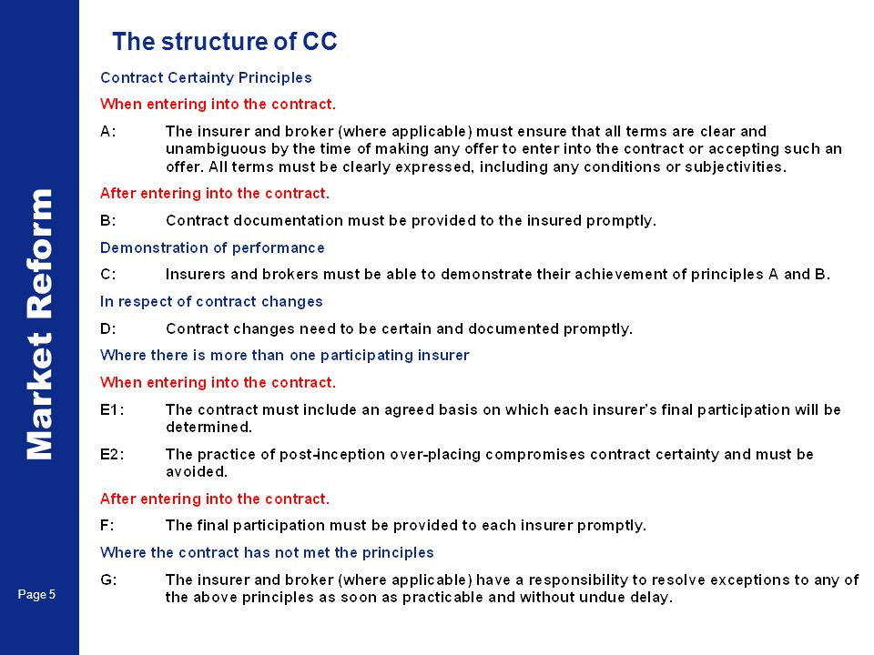 Market Reform Page 5 The structure of CC
