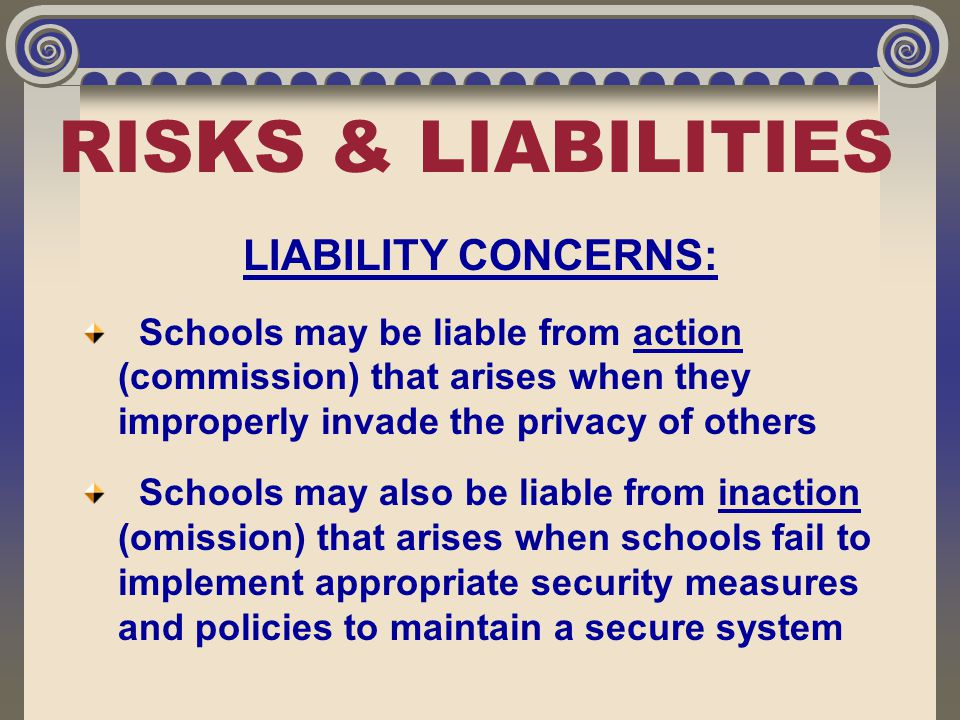 RISKS & LIABILITIES LIABILITY CONCERNS: Schools may be liable from action (commission) that arises when they improperly invade the privacy of others S