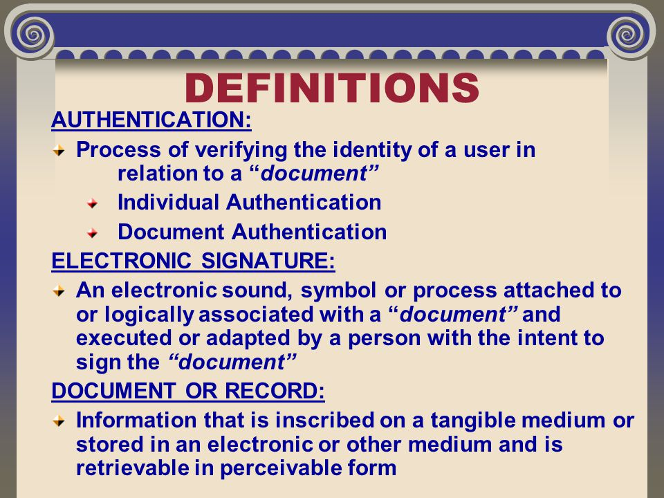 "DEFINITIONS AUTHENTICATION: Process of verifying the identity of a user in relation to a ""document"" Individual Authentication Document Authentication"