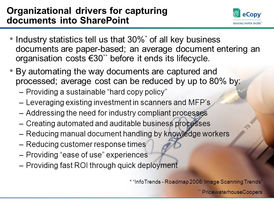 Organizational drivers for capturing documents into SharePoint Industry statistics tell us that 30% * of all key business documents are paper-based; an average document entering an organisation costs €30 ** before it ends its lifecycle.