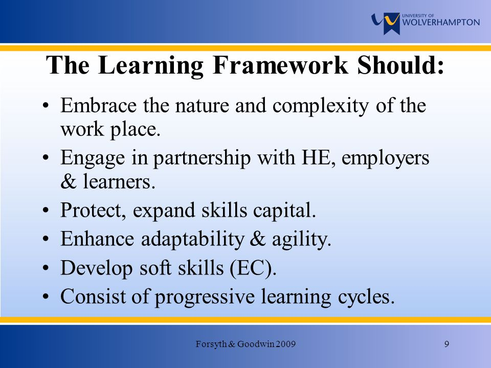Forsyth & Goodwin 20099 The Learning Framework Should: Embrace the nature and complexity of the work place.