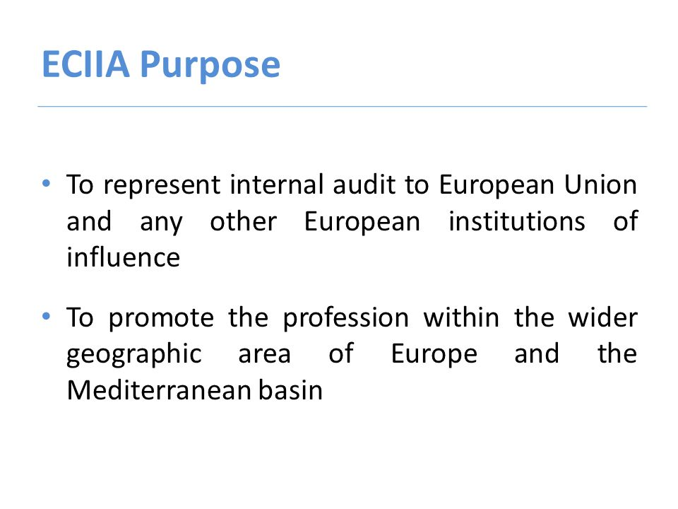 ECIIA Purpose To represent internal audit to European Union and any other European institutions of influence To promote the profession within the wider geographic area of Europe and the Mediterranean basin