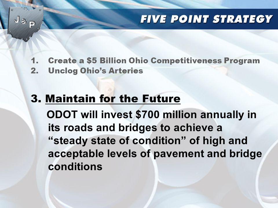 1.Create a $5 Billion Ohio Competitiveness Program 2.Unclog Ohio's Arteries 3.