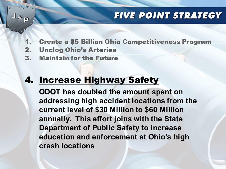 1.Create a $5 Billion Ohio Competitiveness Program 2.Unclog Ohio's Arteries 3.Maintain for the Future 4.